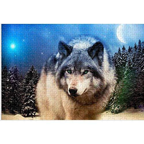 HYLLVC 1000 Piezas de Rompecabezas para Adultos Lone Wolf on The Moon Puzzle de 1000 Piezas para Adultos y niños Juego Familiar cooperativo desafiante y Divertido 75x50cm