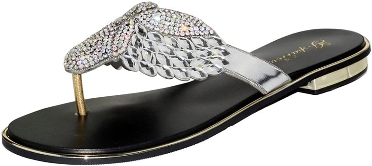 Doris Fashion Women's Glitter Rhinestones Flip Flops Evening Wedding Sandals
