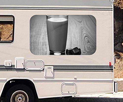 3D Autoaufkleber Milchshake Schokolade Glas Milch schwarz weiß Wohnmobil Auto Fenster Sticker Aufkleber 21A1178, Größe 3D sticker:ca. 45cmx27cm