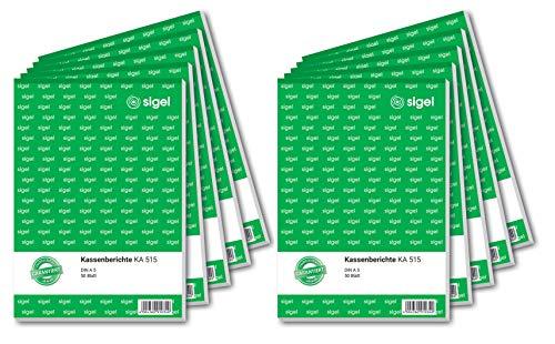 SIGEL KA515/10 - Informe para caja registradora (A5, 10 unidades de 50 hojas)