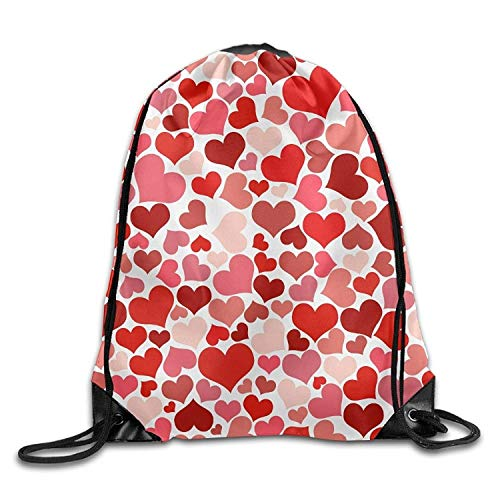 Etryrt Zaino con Coulisse,Borse Sacca,Sacchetto Red Heart Pattern Halloween Unisex Gym Drawstring Shoulder Bag Backpack String Bags
