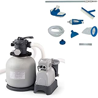 Intex Krystal Clear 3000 GPH Sand Filter Pump + Deluxe Pool Maintenance Kit