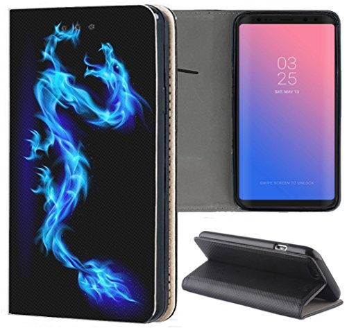 KUMO Hülle für Xiaomi Redmi Mi A3 Handyhülle Design 130 Drache Dragon Blau Schwarz aus Kunstleder Schutzhülle Smart Cover Klapphülle Handy Hülle Hülle für Xiaomi Redmi Mi A3