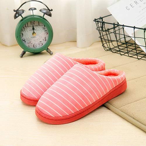 kinfuki Damen Comfort Memory Foam,Herbst- und Winterkappe aus Baumwolle, Baotou-Plüschschuhe aus Baumwolle, pink_40-41,Slippers für Drinnen wollähnliche