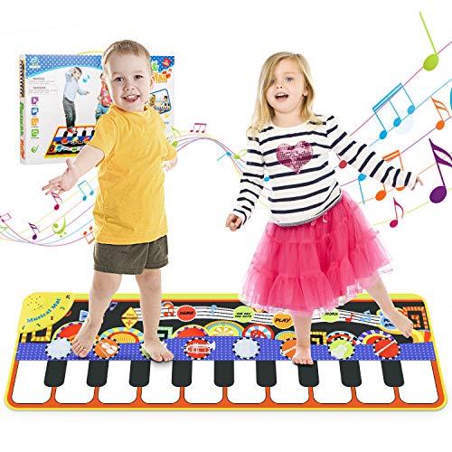 Magicfun Tappeto Musicale per Bambini, Tappetino da Ballo a 19 Tasti, Tappeto da Pianoforte Portatile con 8 Suoni di Strumenti e 10 Demo, Regali per Compleanni e Feste Varie per Piccoli (110 * 36 cm)