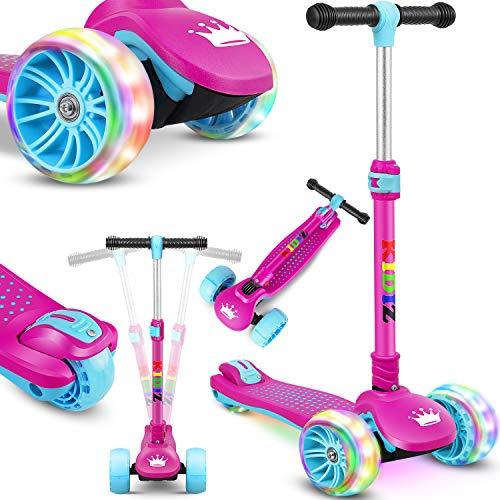 KIDIZ® Roller Kinder Scooter X-Pro2 Dreiradscooter mit PU LED Leuchtenden Räder Kinderroller faltbar Tret-Roller höhenverstellbarer Cityroller Kinderscooter für Jungen Mädchen 3-12 Jahre, Pink