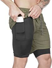 Men Workout 2-in-1 Shorts Sports Quick-Drying Running Training Double-Layer Fitness Short Pants Athletic Gym Pants With Pockets Liner And Hanging Towel Pocket