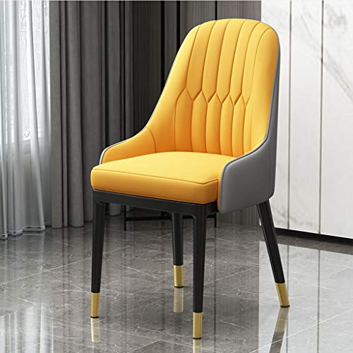 Yuansr Moderna de Cuero de imitación Parson Cena Las sillas de Respaldo Alto Asiento Cocina Comedor Muebles y Hogar Silla for Uso Profesional (Color : Yellow)
