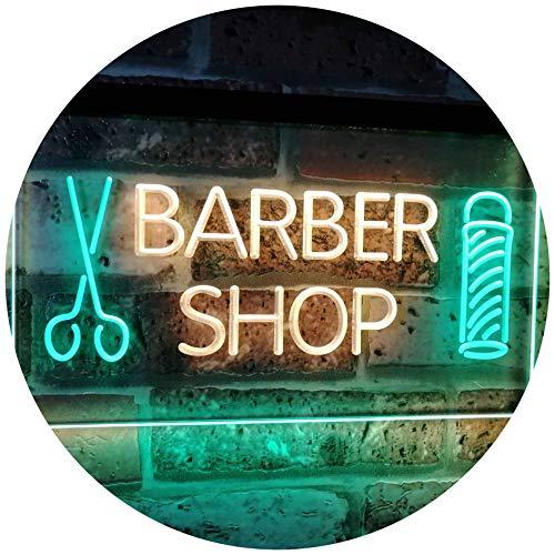 ADVPRO Barber Shop Hair Cut Scissor Pole Display Dual Color LED Enseigne Lumineuse Neon Sign Vert et Jaune 400 x 300mm st6s43-i2044-gy