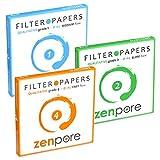 18.5 cm Lab Filter Paper, Standard Grades 1, 2, 4 - ZENPORE Fast, Medium, Slow Flow 185 mm (Bundle of 3 x 100 Discs)