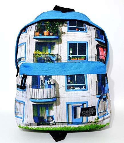 Panini Franco Cosimo Zaino Americano Comix Voyages Azzurro con balconi Collezione Scuola Tempo Libero Spallacci Imbottiti 40x30x20cm