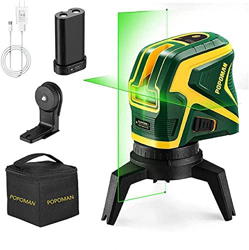 Niveau Laser, POPOMAN Traceurs de Ligne laser, Laser Vert avec 2 points de connexion, Chargement USB, Laser Ligne croisée à autonivelant 25 m, Fonction d'impulsion, Base magnétique rotative incluse