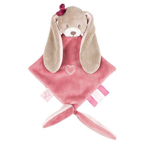 Nattou Pupazzetto fazzoletto mini Nina Il Coniglietto, Con portaciuccio, 30 x 20 x 5 cm, Nina, Jade e Lili, Beige/Rosa, 987141