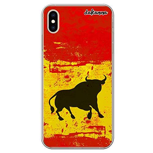 dakanna Funda Compatible con [iPhone XS MAX] de Silicona Flexible, Dibujo Diseño [Bandera españa con Toro], Color [Borde Transparente] Carcasa Case Cover de Gel TPU para Smartphone