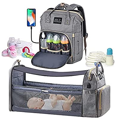 Diaper Bag Backpack - with Changing Station HKZ 5 in 1 Baby Diaper Bags for Girls and Boys,Travel Foldable Baby Bed Multifunction Large Capacity Baby Bassinet with USB Charging Port,Waterproof (Gray) from Ouch-US