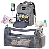 Diaper Bag Backpack - with Changing Station HKZ 5 in 1 Baby Diaper Bags for Girls and Boys,Travel Foldable Baby Bed Multifunction Large Capacity Baby Bassinet with USB Charging Port,Waterproof (Gray)