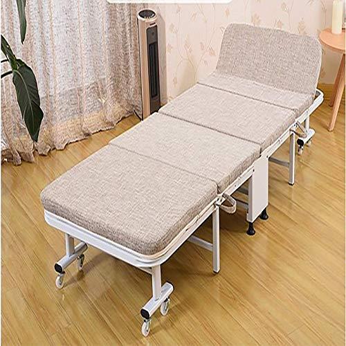 Productos para el hogar Cama individual plegable de cuatro pliegues Cama simple para el hogar Oficina para el almuerzo Pausa para el almuerzo Cama para la siesta Cama de acompañante Gris beige Beig
