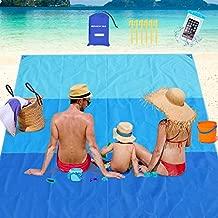 AWAVO Sand Free Beach Blanket, 6.9' x 6.5' Waterproof Large Beach Mat & Sand Mat Beach, Quick Drying Ripstop Nylon Compact Outdoor Beach Mat for Travel, Camping, Hiking and Music Festivals