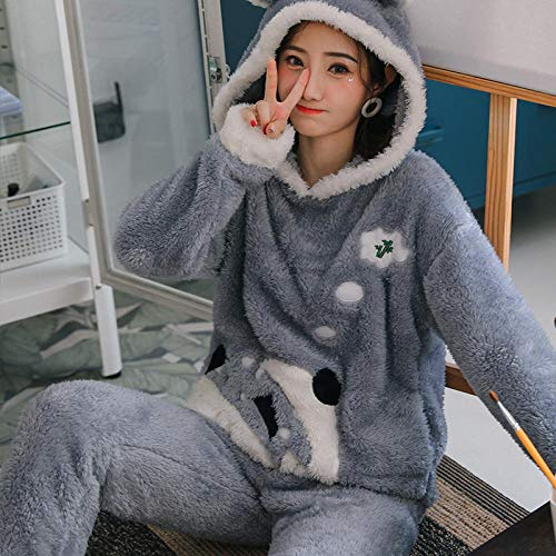 Empty Neue 2-teilige Damen Winter Pyjama Sets Nette Cartoon Langarm Kapuzen...