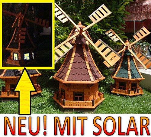 XXL,windmühle,windmühlen garten, imprägniert + kugelgelagert 1,30 m groß rot dunkelrot edelrot weinrot, mit SOLARBELEUCHTUNG