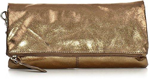 CNTMP, Damen Handtaschen, Clutch, Clutches, Clutchbags, Unterarmtaschen, Partybags, Trend-Bags, Metallic, Leder Tasche, 25x13x2,5cm (B x H x T), Farbe:Bronze