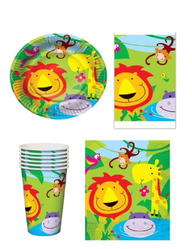 Jungle Animal 16 Place Settings party pack - 16 cups, 16 plates 16 x napkins & 1 Tablecloth