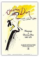 クリスチャンディオール1947-1957へのオマージュ - パリのアートとファッションの博物館で展示 - によって作成された ルネ・グリュオ c.1987 - アートポスター - 33cm x 48cm