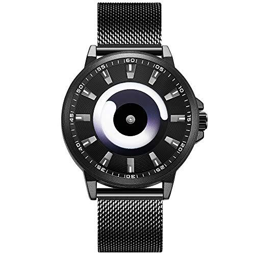 para Hombre Fashion Relojes de Cuarzo Impermeable Reloj de Pulsera con Banda de Malla de Acero Inoxidable, Business Casual Relojes para Hombres niños Azul océano por BHGWR
