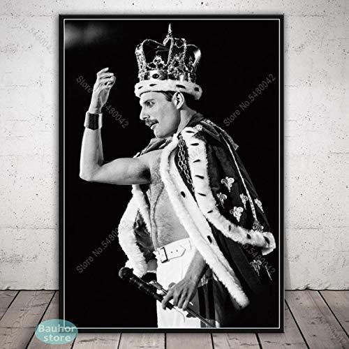 Poster Freddie Mercury Queen Rock Band Nero Bianco Retro Tela Pittura Poster e Stampe Wall Art for Living Room Home Decor 60x84 CM Senza Cornice 02