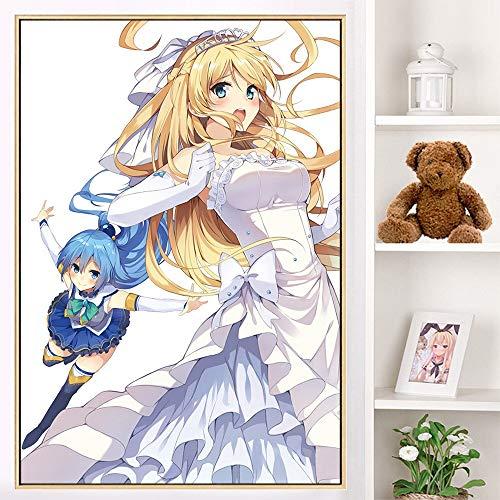 ZXXGA 5D Kit De Pintura De Diamante para Adultos,Anime japonés Hermosa Chica Diamond Painting,estrás Bordado,Punto de Cruz,Suministros artísticos artesanía Etiqueta de la Pared decoración 40x50cm