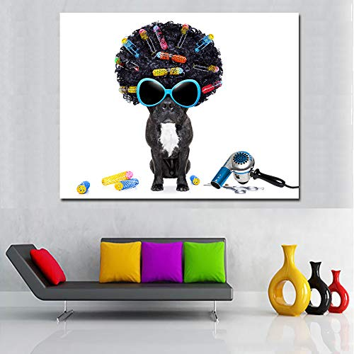 yhyxll Kreative Niedlichen Tier Bulldogge In Gläser Bilder Leinwand Malerei Wandkunst Gedruckt Poster Lebendige Farbe Für Wohnzimmer Rahmenlose 50x65CM