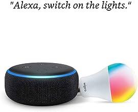 Echo Dot (Black) Combo with Wipro 12W Smart Color Bulb - Smart Home Starter Kit