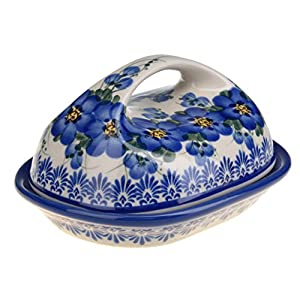 Classic Boleslawiec, Polish Pottery Hand Painted Stoneware, Ceramic Butter Dish with lid, 331-U-003-Q1