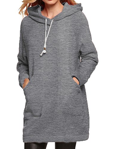 Qearl Women Autumn Loose Warm Pocket Pullover Hoodie Tunic Sweatshirt(M, Gray)