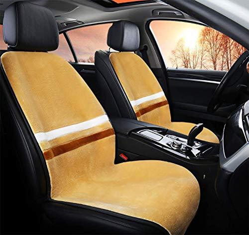 Xljh Voiture Chauffage Coussin de siège Universel Short en Peluche Hiver Chauffage électrique sièges Chauds Coussins 12V,Beige,2PC