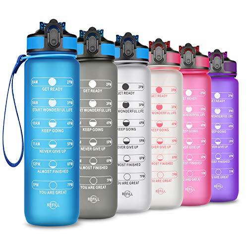 SLUXKE Trinkflasche - Tritan Wasserflasche - 1000ml -Auslaufsicher BPA-frei mit Motivationszeitmarkierung 1 klick Öffnen Für Kinder, Schule,Fahrrad,Gym,Yoga, Camping