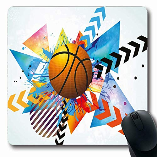 Teen Room Mousepad Oblong Teen Room Basketball in Front Zigzag Circular Geometric Minimalist Forms Graphic Orange Blue Non-Slip Rubber Mouse Pad Office Computer Laptop