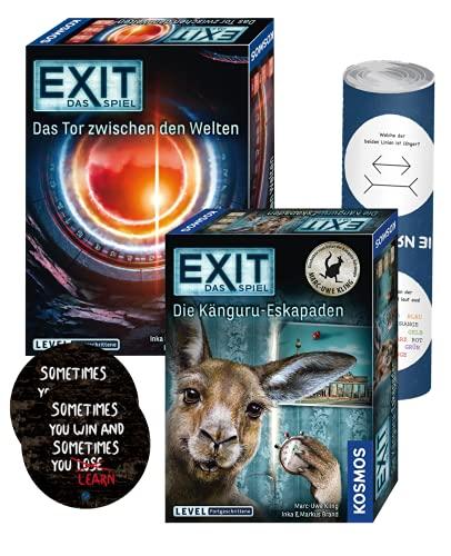EXIT Das Spiel - Set: Das Tor zwischen den Welten + Die Känguru-Eskapaden + 2X Exit-Sticker + 1x optisches Täuschungsposter