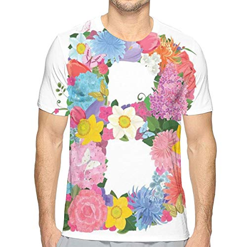 3D Printed T Shirts,Romantic ABC Sign with Fresh Spring Blossoms Colorful Feminine...