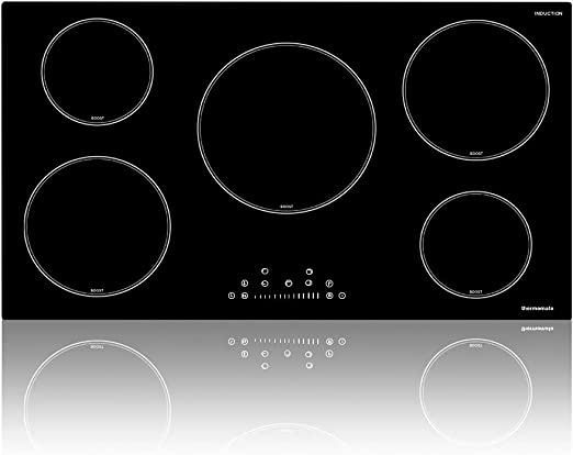 36 Inch Induction Cooktop, thermomate Built-in Electric Stove Top, 240V Electric Smoothtop with 5 Boost Burner, 9 Heating Level, Timer, Kid Safety Lock, Keep Warm Function, ETL & FCC Certified
