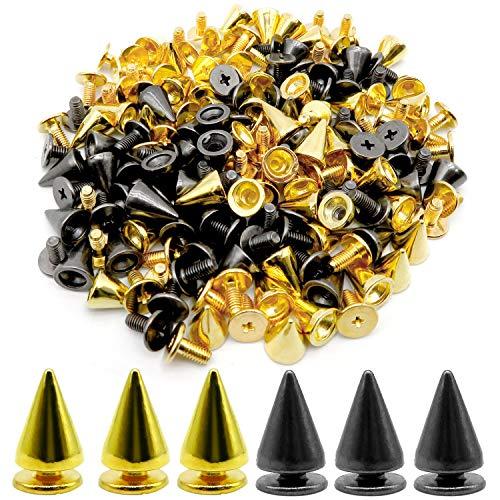 AYWFEY 120 pares de espigas de cono de bala, tachuelas metálicas con tornillos tachuelas metálicas con tornillos para manualidades en cuero remaches geniales ropa punk zapatos bolsa cinturón chaqueta