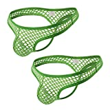 TAKIYA 2 Pack Men's Underwear Sexy Thong Transparent Mesh Low Rise See Through T-Back G-String Green Medium