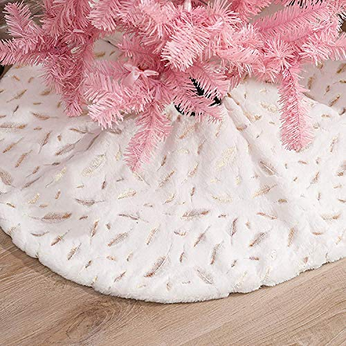 Christmas Tree Skirt, Voyoly 48 Inch White Christmas Tree Decorations Indoor Sequin Tree Collar Faux Fur Gold Feather Plush Rug Xmas Holiday Party Supplies Large Tree Mat Decor Ornaments 2020