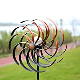 HDNICEZM Solar Wind Spinner Improved 360 Degrees Swivel Warm White LED Lighting Glass Ball with Kinetic Wind Spinner Vertical Metal Sculpture Stake Construction for Outdoor Yard Lawn & Garden.