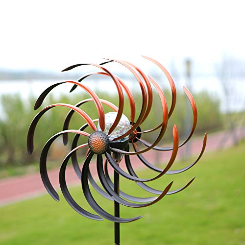HDNICEZM Solar Wind Spinner Improved 360 Degrees Swivel Warm White LED Lighting Glass Ball with Kinetic Wind Spinner Vertical Metal Sculpture Stake...