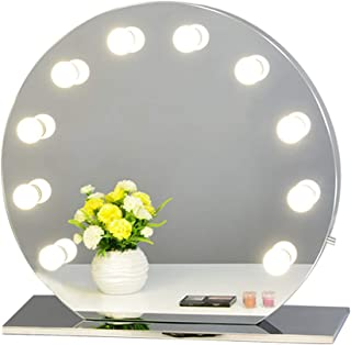 Chende Hollywood Makeup Vanity Mirror with Light Tabletops Lighted Mirror with Dimmer, LED Illuminated Cosmetic Mirror with LED Dimmable Bulbs, Lighting Mirror (Round, Frameless)