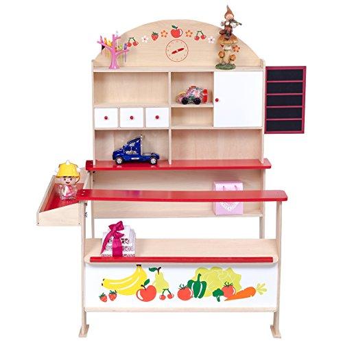 DREAMADE Kaufmannsladen Kinderladen, Kinderkaufladen aus Holz Kaufladen, Einkaufsladen Verkaufsstand Supermarktstand für Mädchen und Jungen