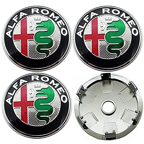 WCLOC Tapa De Cubo De Centro De Rueda De 4 Piezas para Alfa Alpha Romeo 159 147 156 Giulietta Mito, Cubierta De DecoracióN De Rueda De Coche Impermeable A Prueba De Polvo con Logotipo, 60MM
