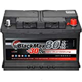 BlackMax Batterie, wartungsfrei mit 12 Volt und 80Ah Kapazität, für Diesel und Benziner mit 30% mehr Startkraft gegenüber herkömmlichen Starterbatterien Starterbatterie der Premium Klasse mit Calcium Technik und enormer Kapazitätsreserve für ausgezei...