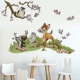 Runtoo Pegatinas de Pared Animales Flores Stickers Adhesivos Vinilo Bambi Decorativas Infantiles Habitacion Bebe